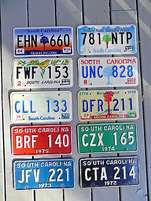 License Plate South Carolina Lot of 10 / 44 yrs 1972-2016 complete SC Quality