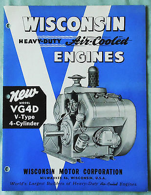 "Vintage Wisconsin ""new"" Model Vr4D Air Cooled Engine Sales Brochure"