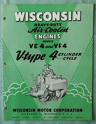 Vintage Wisconsin Model Ve4 & Vf4 Air Cooled Engine Sales Brochure