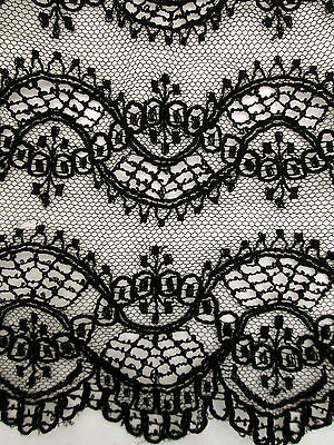 ANTIQUE CHANTILLY NET LACE FLOUNCES Salvaged Victorian Black Embroidery & Ribbon