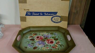 Large Vintage HAND-PAINTED Floral Toleware Tray by Nashco*Original Box*