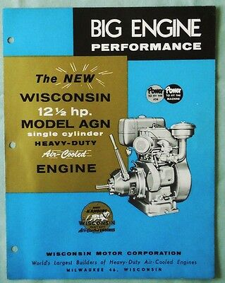 Vintage Wisconsin Model Agn 12 1/2 H.p. Air Cooled Engine Sales Brochure