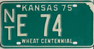 Vintage Kansas 1975 Norton County License Plate Very Good Low Number NTE 74