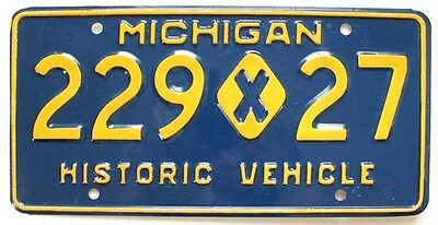 Michigan 1971-1986 Historic Vehicle License Plate, 229 x 27, Excellent Condition