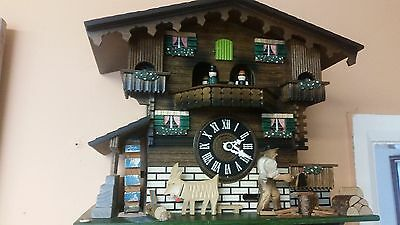 LARGE  GERMAN  MUSICAL CUCKOO CLOCK--watch video ---FULLY SERVISED----VERY CLEAN