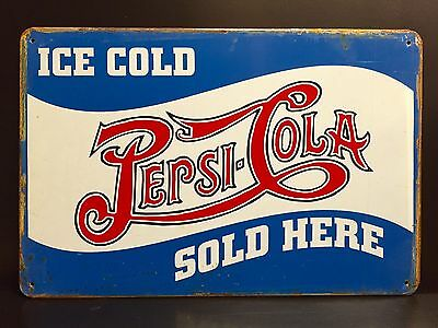 PEPSI COLA Sold Here METAL SIGN vtg Retro Ice Cold Art Diner Wall Decor