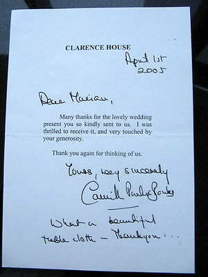 Duchess of Cornwall, Camilla (Prince Charles wife) SIGNED,Two Letters