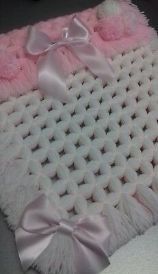 Baby Pram Blanket, Chunky Square With Pom Poms & Ribbon, Baby Pink & White