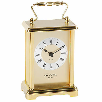 Classical Two-Tone Metal Carriage Mantel Table Clock 16.5x9cm