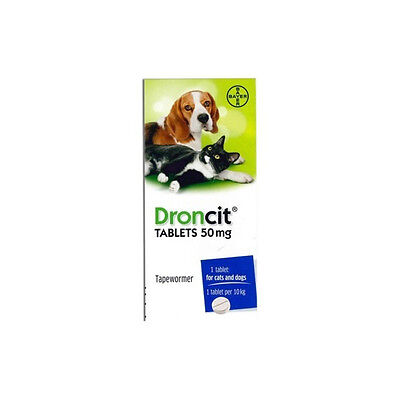 Bayer Droncit Tapeworm Tablets Wormer for Cats and Dogs - 2 Tablets