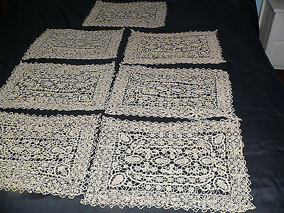 Antique Lace Placemat Set  RETICELLA  Needlelace Runner and 7 Placemats