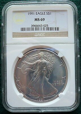 Blazing United States 1991 One Ounce Silver $1 American Eagle NGC Slab MS 69