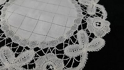 Antique Vintage DOILY TOPPER White BELGIAN BRUSSELS Tape Lace & Linen Round