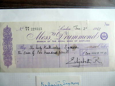 ELIZABETH, QUEEN MOTHER - SIGNED PERSONAL CHEQUE - 1967 - RARE!!!   CoA