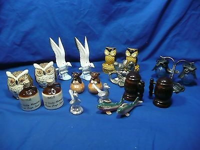 10 PAIRS OF SALT AND PEPPER SHAKERS ceramic wood metal ALL w/ STOPPERS