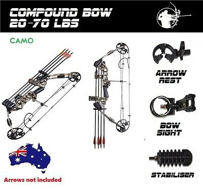 20-70lbs Compound Bow Arrow Archery Hunting Target Shooting Camo Magnesium Right
