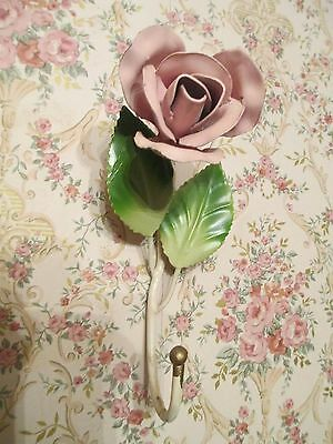 Vintage Italian Tole Metal Rose Floral Decorative Hook. Made in Italy