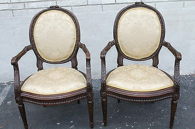 Gorgeous Pair of French Louis XV Walnut Heavily Carved Fauteuils Side Chairs 19c