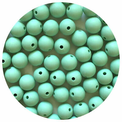 10 silicone MINT GREEN 12mm beads round BPA free baby teeth safe nursing chew