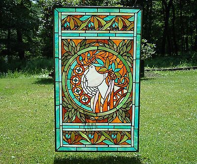 "20"" x 34"" deco girl Tiffany Style stained glass Jeweled window panel"