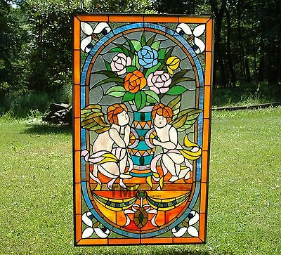 """20"""" x 34""""  two baby angel Tiffany Style stained glass Jeweled window panel"""