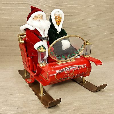 Gemmy Animated Christmas Sleigh Santa & Mrs. Claus Vintage Animated Musical