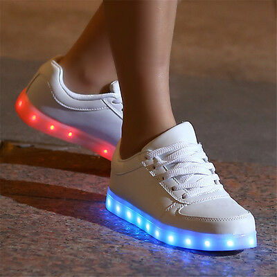 Boys Girls Kids LED Light UP Luminous Shoes Casual Sports Sneakers White Black