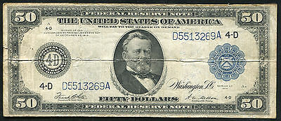 FR. 1039a 1914 $50 FIFTY DOLLARS LARGE SIZE FEDERAL RESERVE NOTE