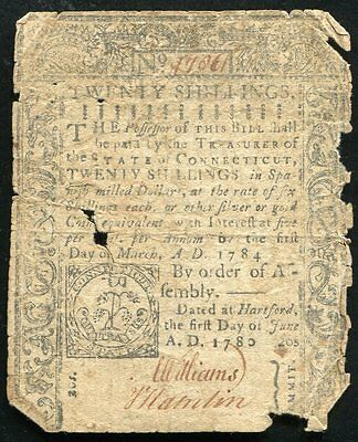 JUNE 1, 1780 20s TWENTY SHILLINGS COLONIAL CURRENCY CONNECTICUT