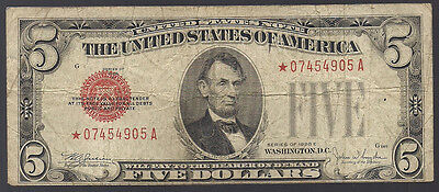 *star* 1928-E $5 Five Dollar Red Seal United States Note **rare**