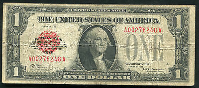 "1928 $1 One Dollar ""funnyback"" Red Seal United States Note ""puerto Rico Issue"""