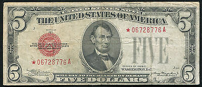 1928-C $5 Five Dollars *star* Red Seal United States Note Scarce