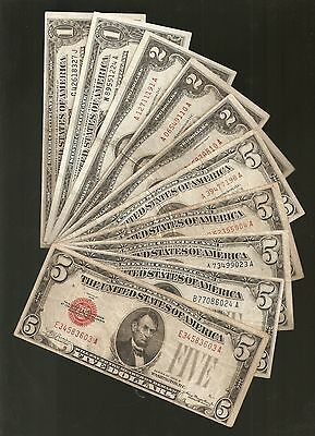 $1, $2, & $5 Us Currency *10* Note Variety Set / Collection 1928-1957 Years