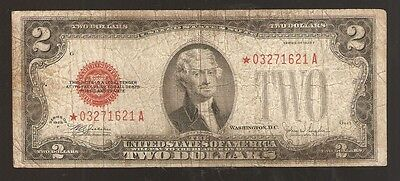 *star* 1928-F $2 Two Dollar Red Seal United States Note **rare**