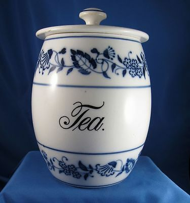 Antique Blue Onion Pattern TEA Canister, Germany, C-1890-1910