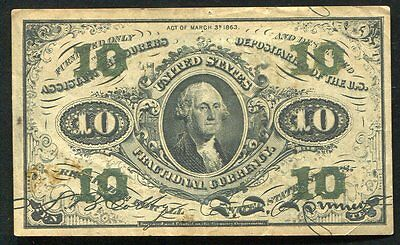 10 Ten Cents Third Issue Fractional Currency Note Extremely Fine