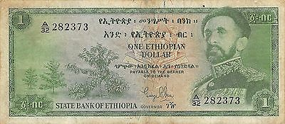 Ethiopia  $1  ND. 1961  P 18a  Series A/32 circulated Banknote M10X