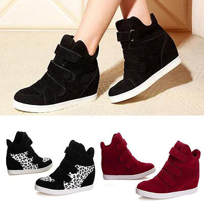 Women Fashion Hidden Wedge Heels Shoes Increased High Top Casual Sneakers LOT