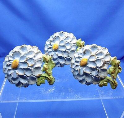 Antique Hand Painted Metal Work Blue Mum Drawer Pulls, Set of 3 Heavy, Great!