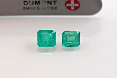 5mm Square Semi-Matched Pair Natural Colombian Emeralds Loose Gemstones