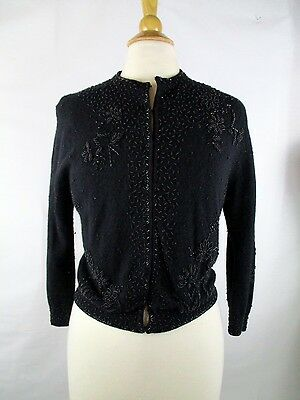 Vintage Beaded Black Cashmere Cardigan Sweater S Small Fully Lined