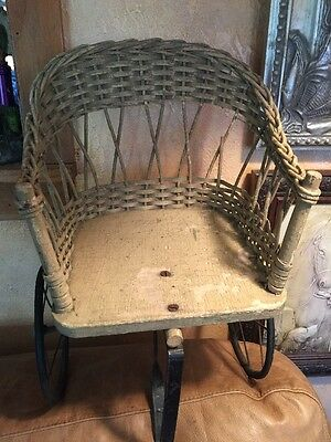 Wicker Antique Teddy Bear Chair Wood Metal Great Photography Victorian Vintage