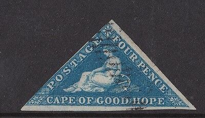 D6) Cape of Good Hope 1853 4d deep blue Triangular