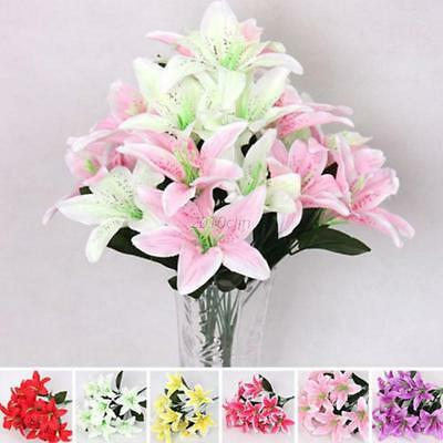 10 Heads Artificial Flower Lilies Bouquet Party Wedding Home Decor Fake Flower