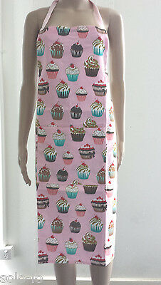 Kitchen Apron With Front Pocket Cupcake Cupcakes 100% Cotton Washable Pink New