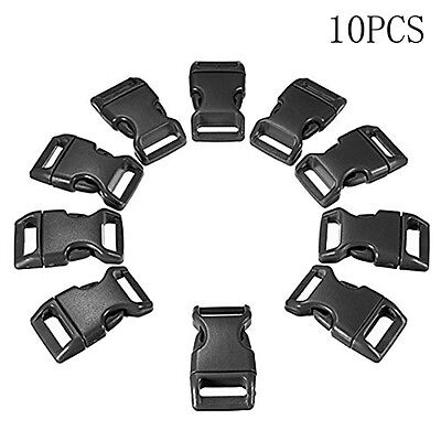 Quick Side Release Buckle Clips  Black Plastic10pcs/set Backpack Bag Clip