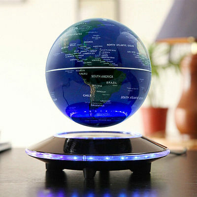 6 Magnetic Levitation C shape Maglev Levitating Floating Globe World Map 8 LED