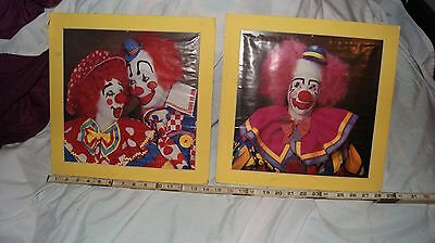 Lot of 2 clown print picture posters with mats (carnival prize?)