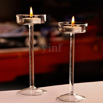2/4x Elegant Crystal Glass Candle Holder Tealight Wedding Home Decor Candlestick