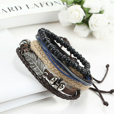 2016 Men's Braided Leather Stainless Steel Cuff Bangle Bracelet Wristband